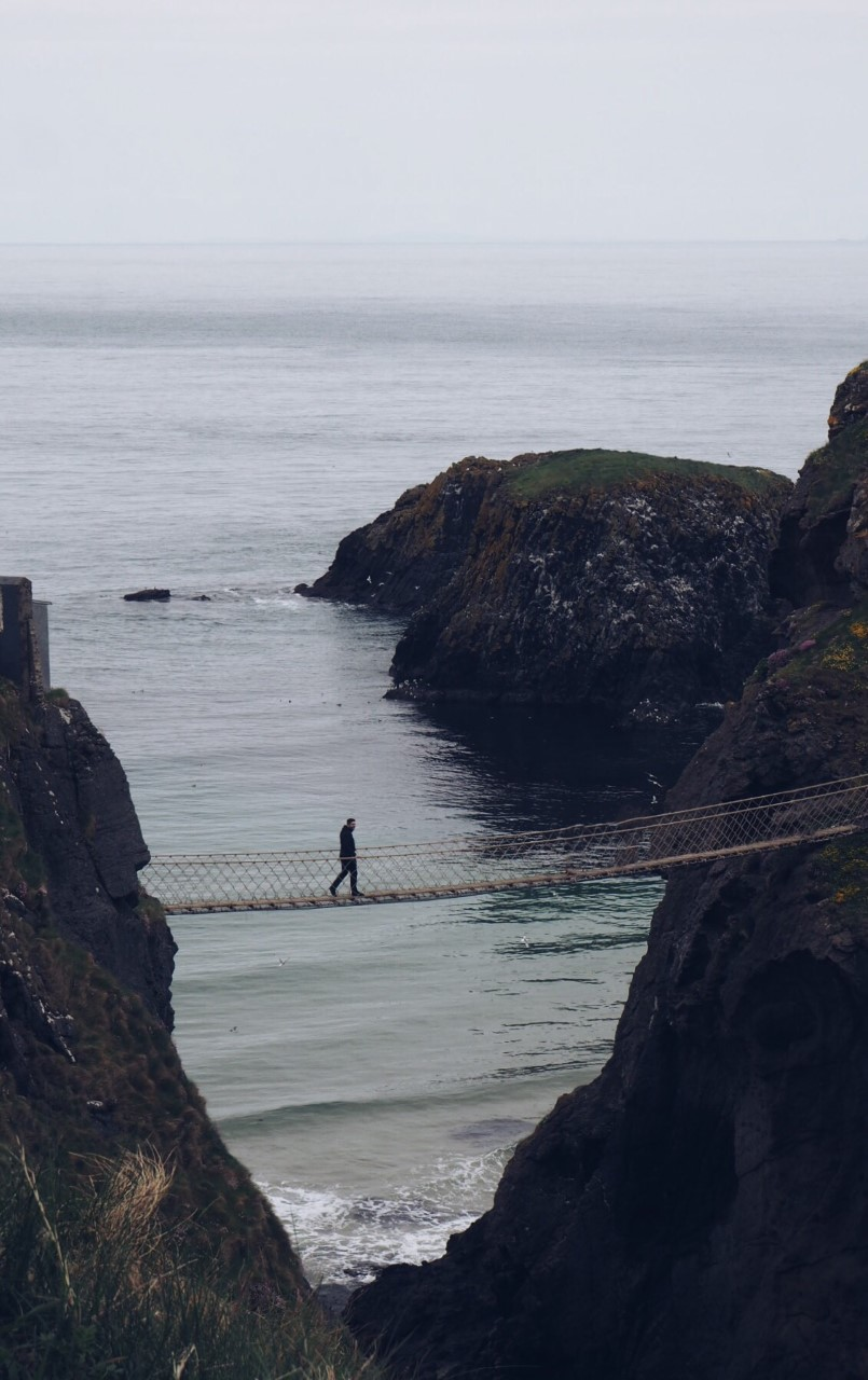 Carrick-A-Rede Rope Bridge, Northern Ireland. Ben crossing solo!