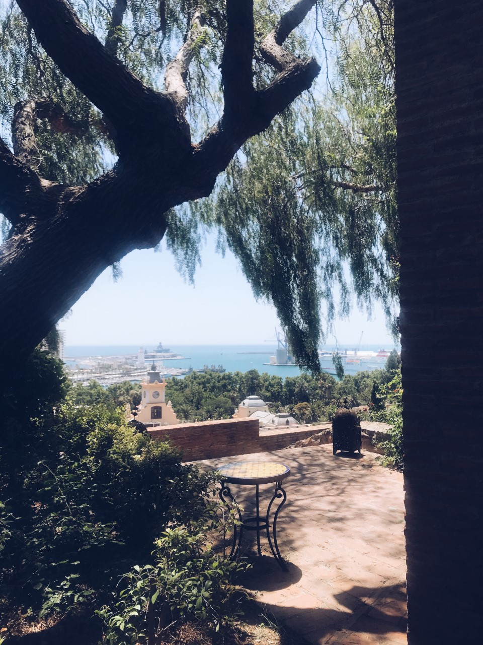 View from the cafe at Alcazaba Castle Gardens.