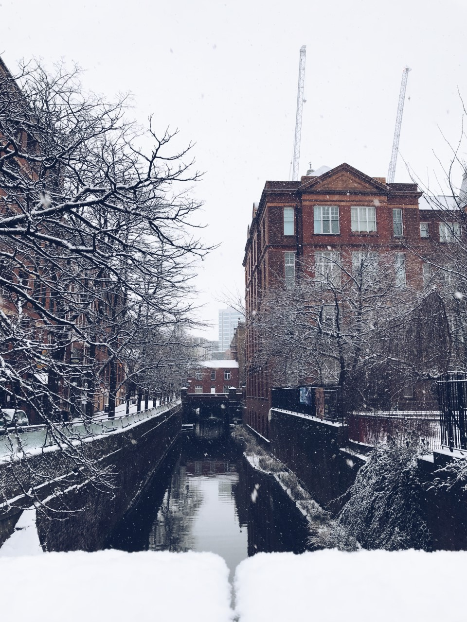Canal street, Manchester in the snow.