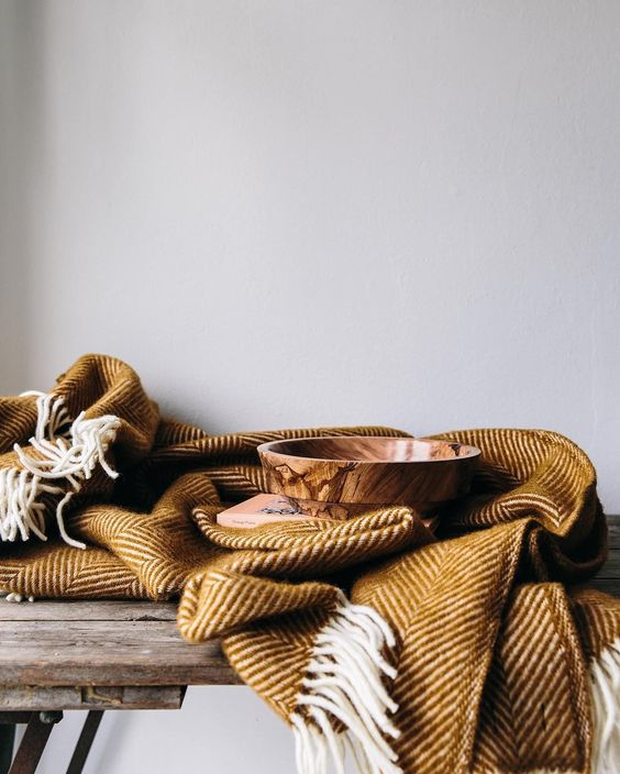 The Future Kept - British Made Herringbone Throw Ochre