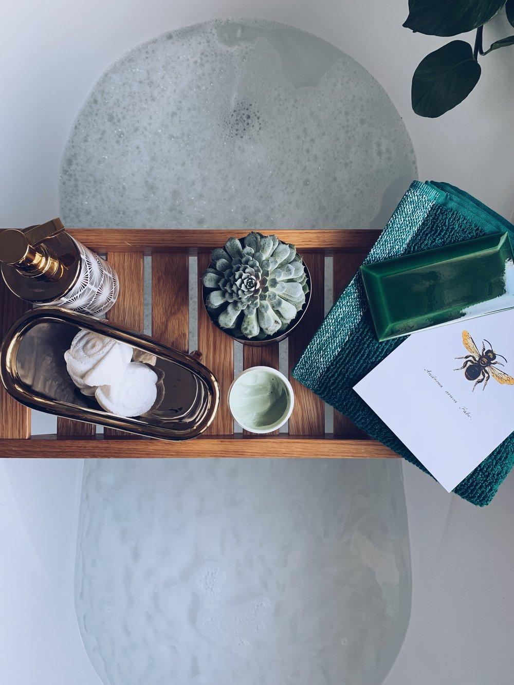 Bathroom flatlay using Crackle Bevel Vintage Green tile