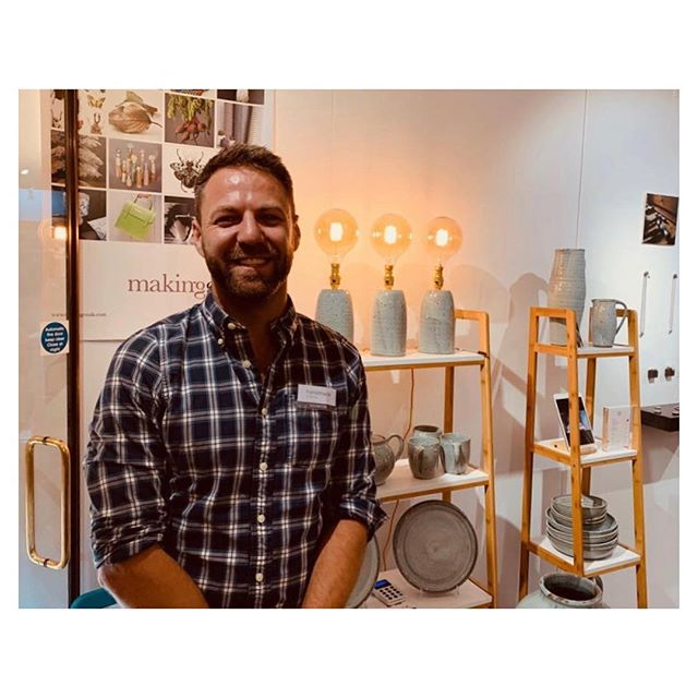 Thoroughly enjoying #handmadechelsea so far. Come and say hello #ceramics #pottery #handmade #craft #design #productionpottery #thrownonthewheel #maker #britishmade #design #adriangonzalezpottery #stoneware #madeinlondon #instapottery #lamp #tableware #sets #highfired #plate #bowl #jug