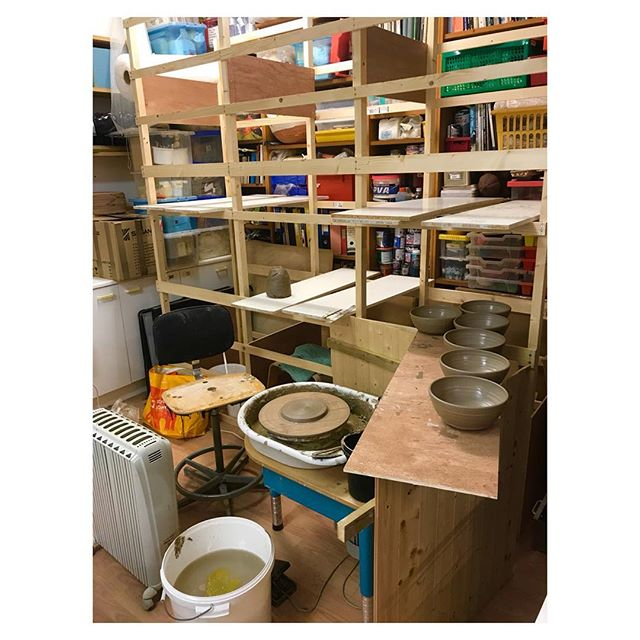 Day 1 in the new studio. It's a bit cold so have the heaters tucked up right next to me and will turn the #kiln on to warm the place up. Loving my new shelves. They are tall so will put the #bowls up high to dry the out quickly ready for turning. #ceramics #pottery #handmade #craft #design #productionpottery #thrownonthewheel #maker #britishmade #restaurant #design #northstreetpotters #adriangonzalezpottery #stoneware #madeinlondon #offthehump