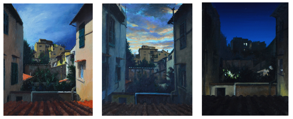 Florence, Three Views  , 2014  Oil on panel  8 x 10 in. each