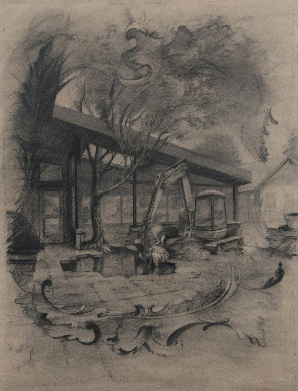 Wishing Well (KJM) , 2018  charcoal on brown paper  19 x 15 in.