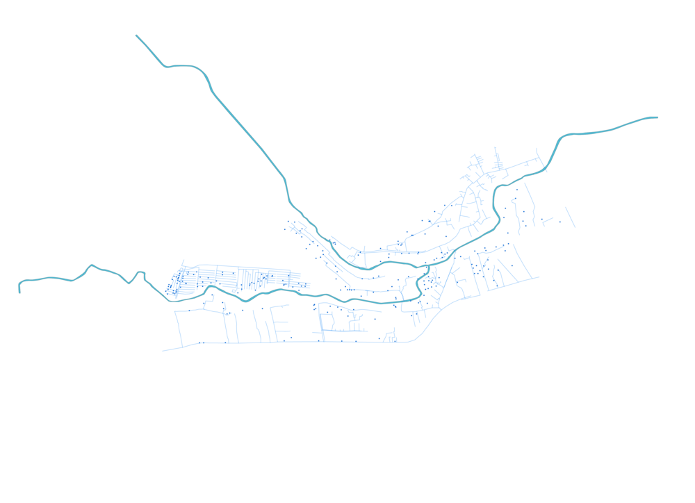 23  Map of Mathare with water points and pipes (source: author's own based on Muungano Support Trust 2012 survey)