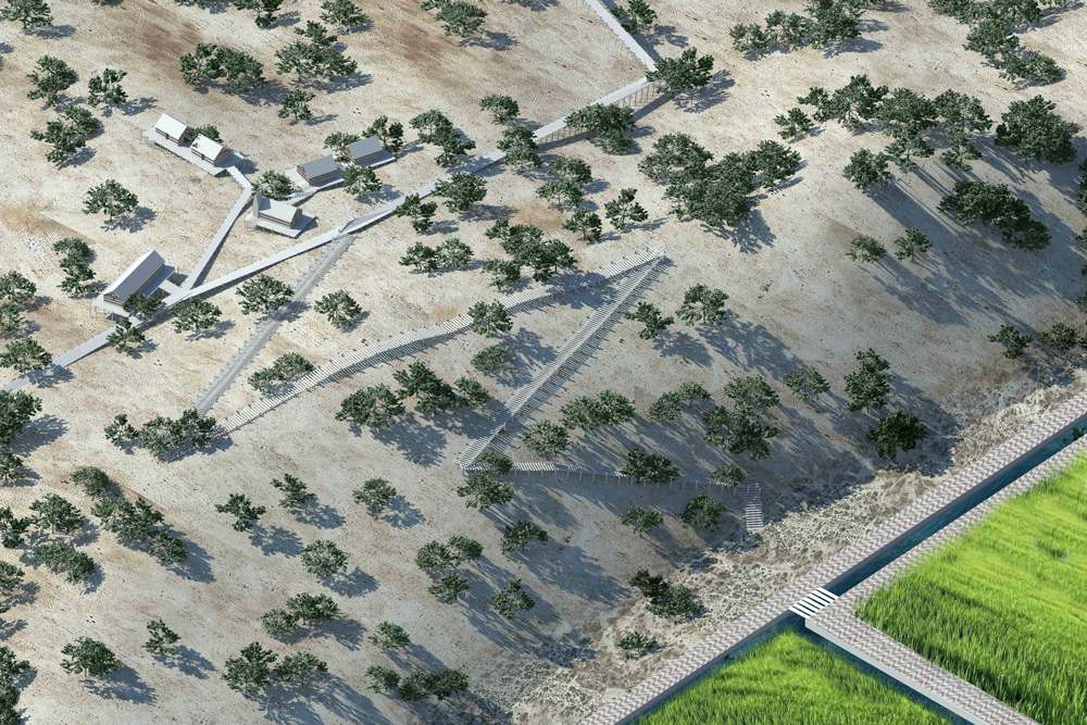 Aldeia da Torre: dunes, 2030—Escudo da Comporta uses the situation of bankruptcy to, for the first time, design the landscape and design it towards a democratic rural environment.