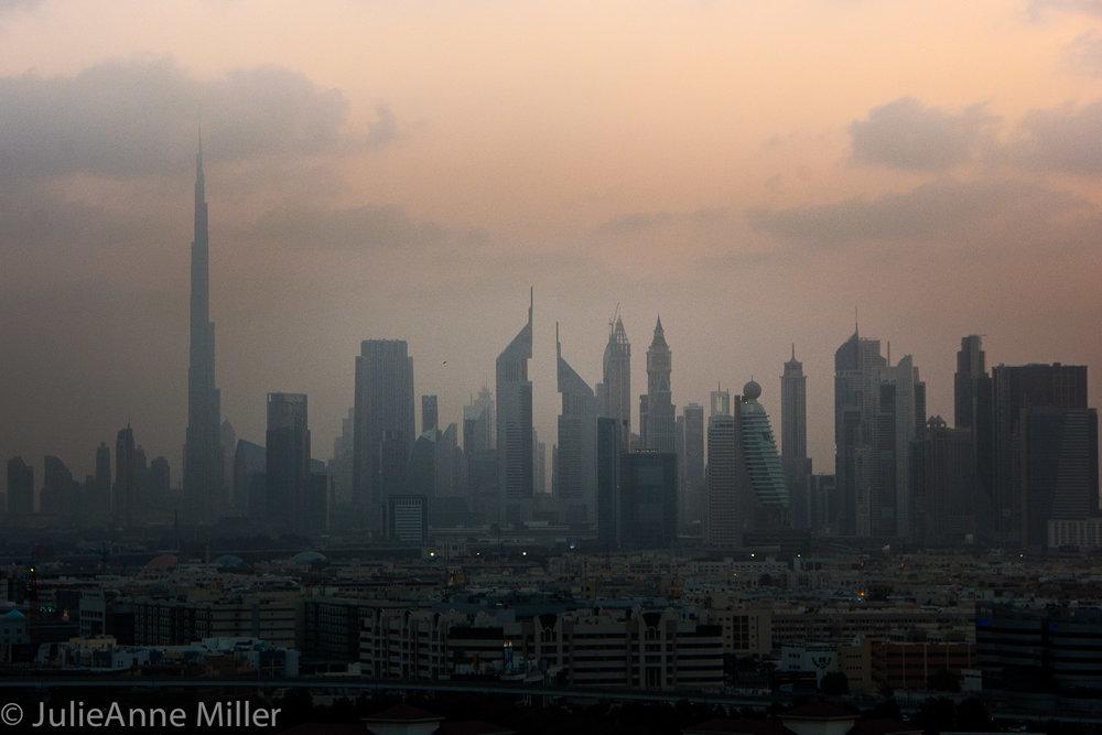 Dubai skyline, dusk