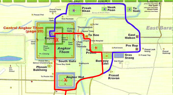 "The Angkor ""big circuit"" = red and blue"
