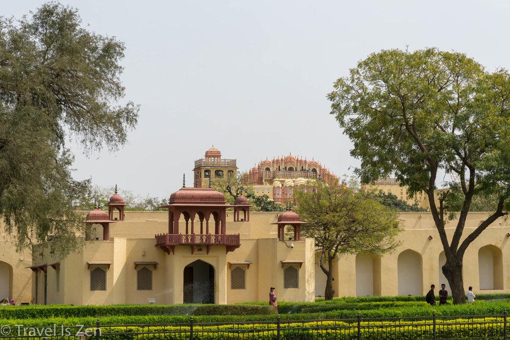 Janta Mantar with Hawa Mahal in background