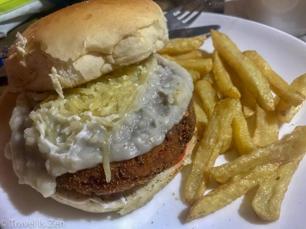 veggie burger and fries