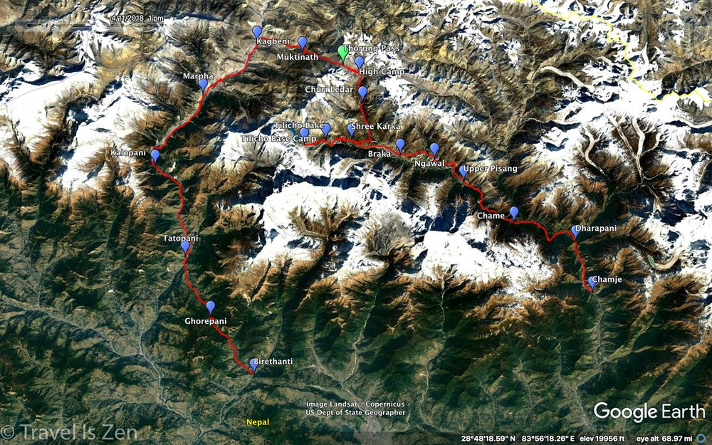 Annapurna Circuit Trek 2018: Route and Google Earth Map
