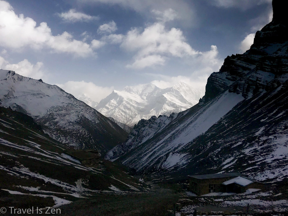 High Camp, pre-dawn, looking east towards the Chulu mountains; Thurong-Phedi is in the valley below.