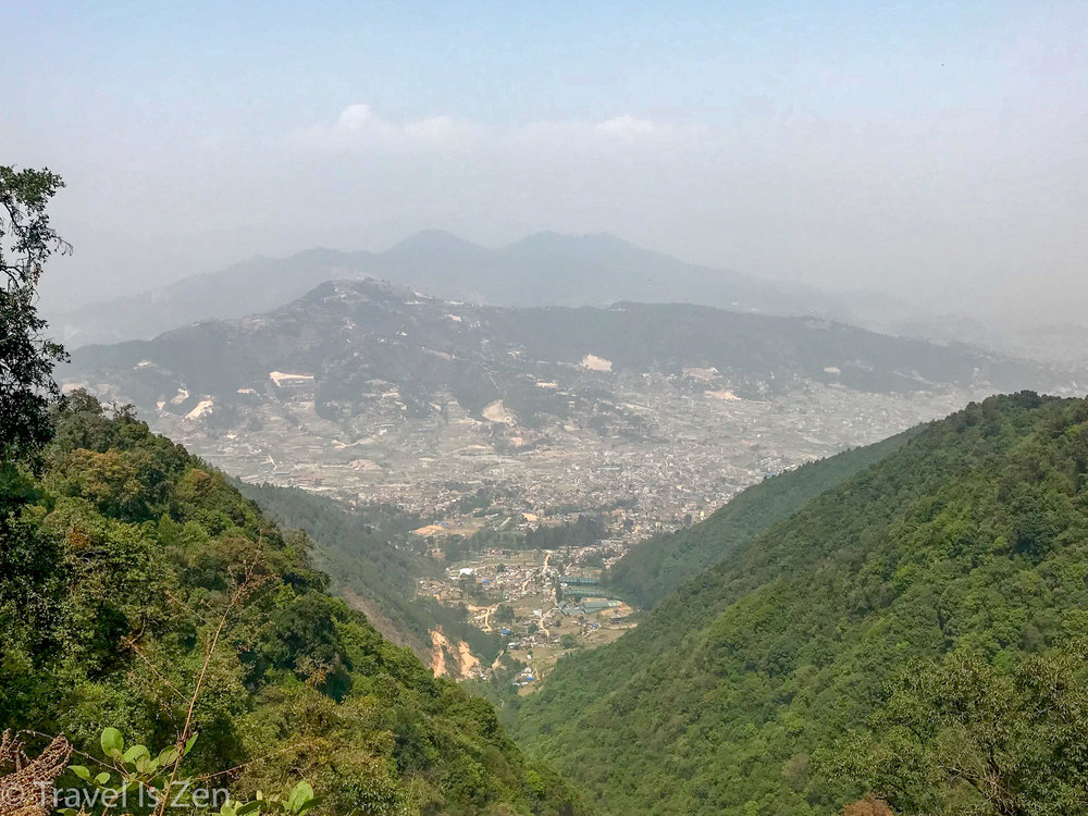 View of Thankot (in the valley) from the top of trail. Kathmandu in the distance.