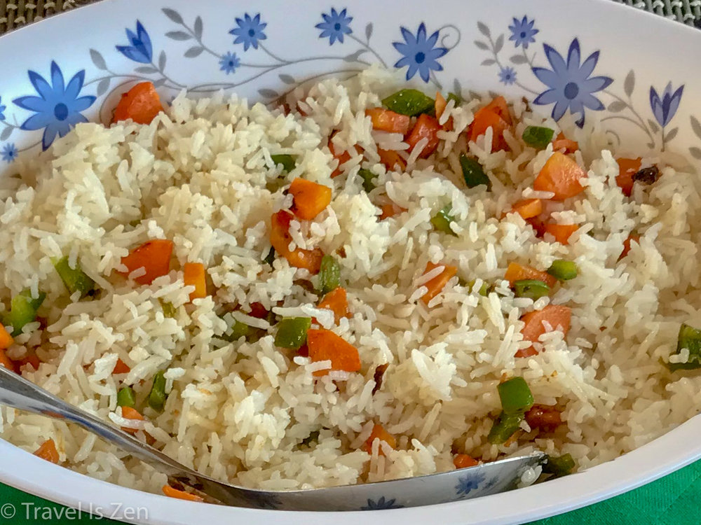 coconut rice with carrots and green pepper