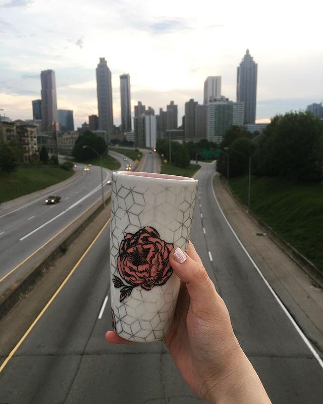 Bold roses comin up next 🥀 #porcelain #screenprinted #tumbler