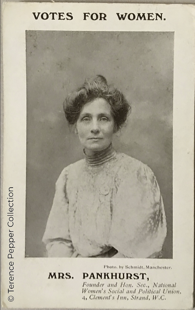 photograph of Emmeline Pankhurst by Schmidt, Manchester.  Copyright  The Terence Pepper Collection
