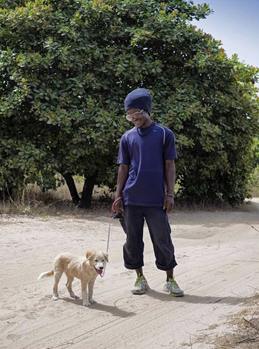 Dog with Bush Walker, The Gambia