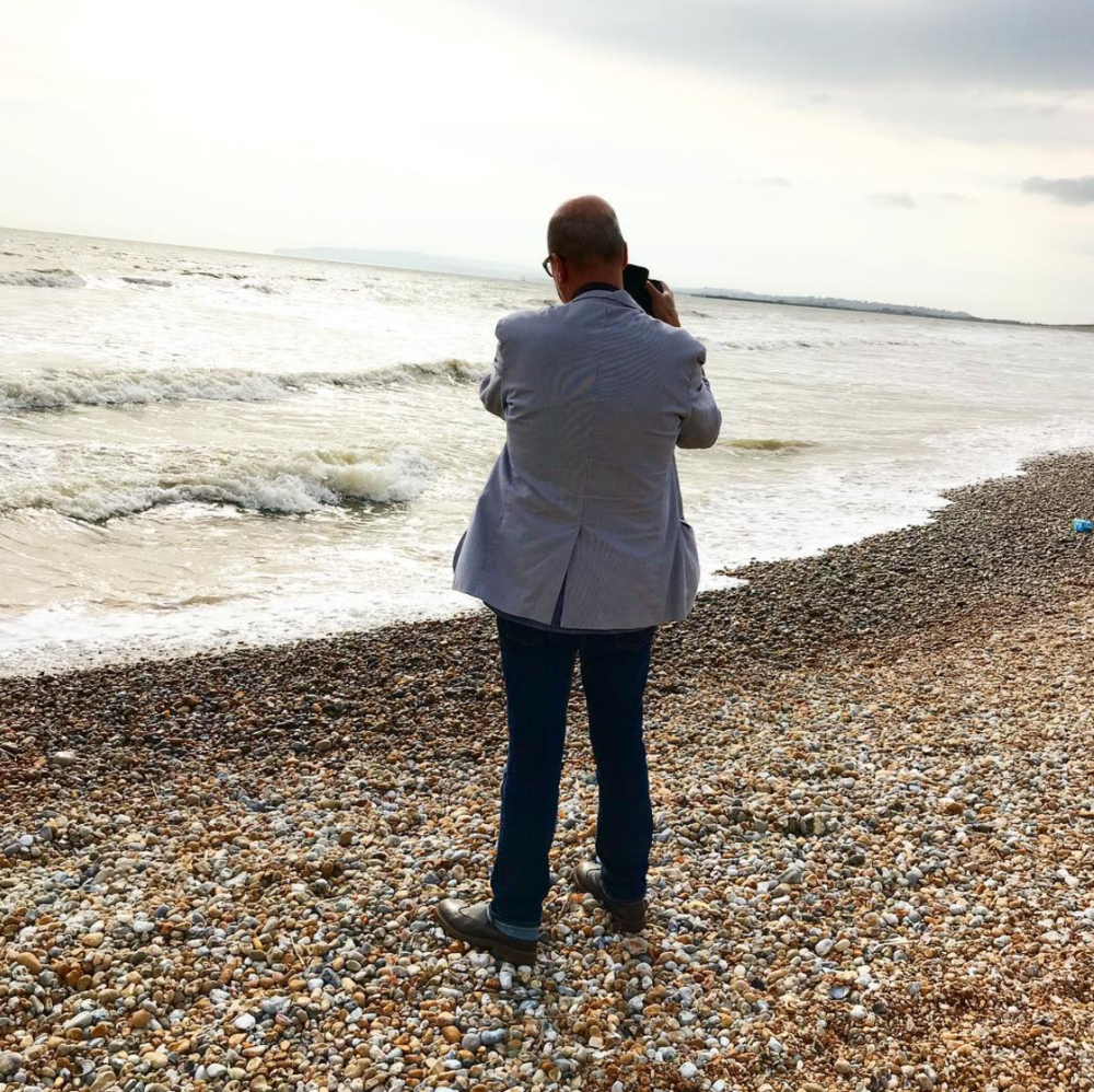 """Caught in a moment... Creative director Geoff Waring shooting on the shore at Camber.""  Karena Callen"