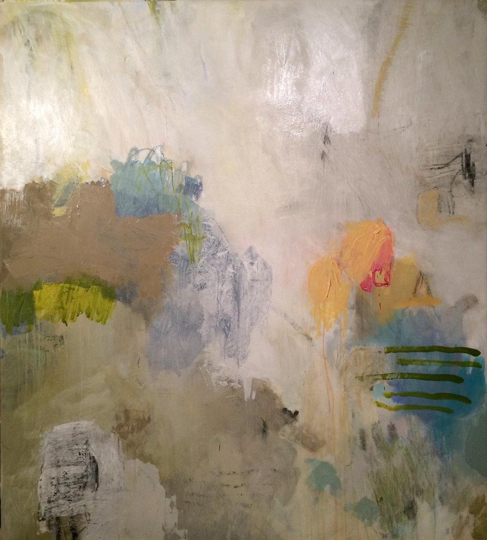 "COTTON CANDY FOR RENEE/ mixed media on canvas/ 66"" x 54"" SOLD"