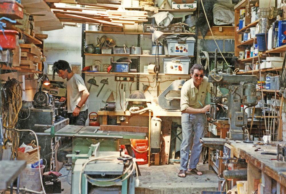 Michael in his workshop in 1992