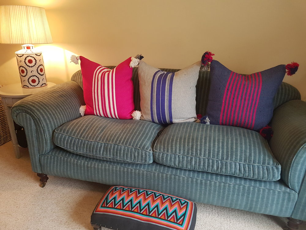 Shop the look, click  here for pink cushion , h ere for grey & blue cushion  and  here for denim & pink cushion .