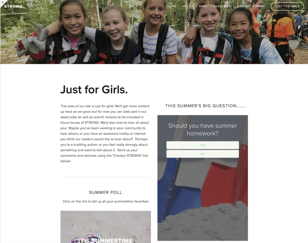 "The new  ""Just for Girls"" section of our website"