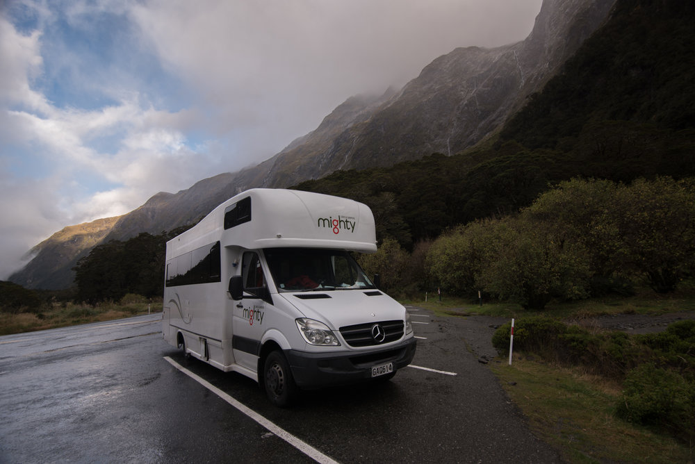 Our RV at Monkey Creek, Fiordland National Park, 2017