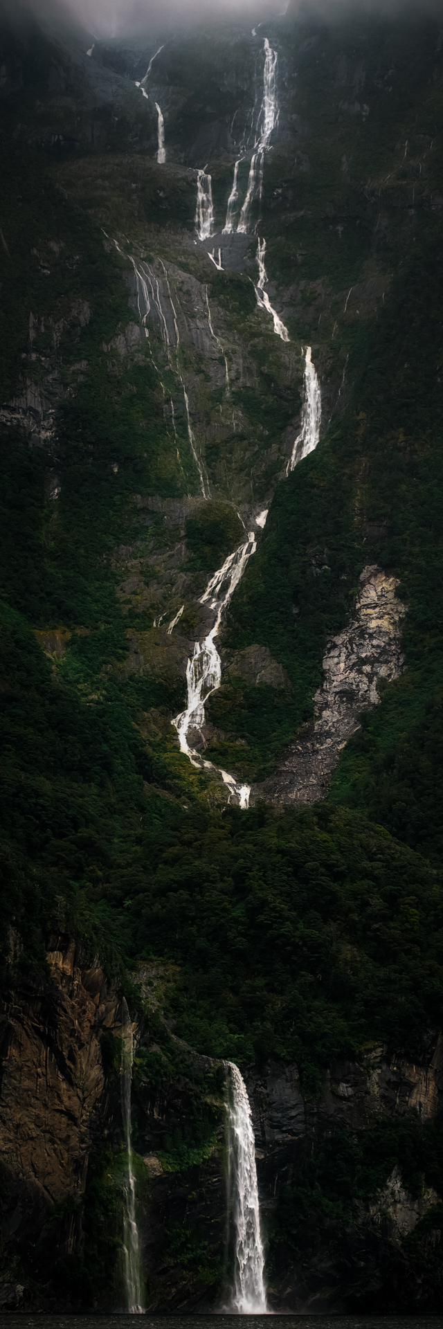 Waterfalls of Milford Sound, Fiordland National Park 2017