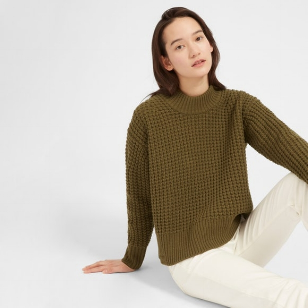 Wool Cashmere Waffle Square Crew ($130)