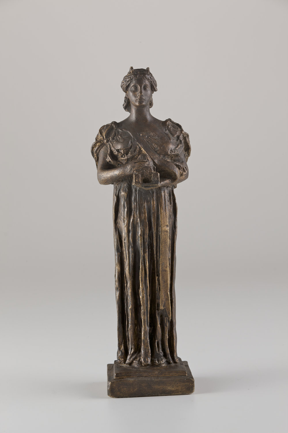 Daniel Chester French's bronze maquette of  Architecture , on view in the Permanent Collections Gallery