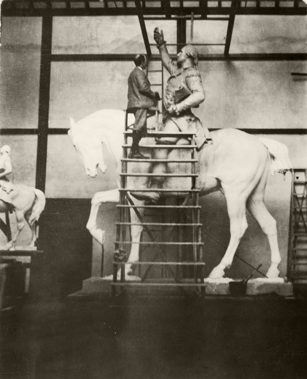 Daniel Chester French working on  George Washington  in the Studio at Chesterwood.