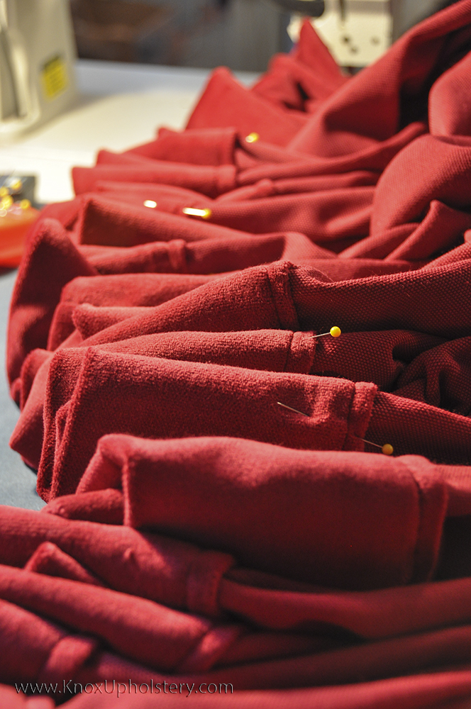 Photo of pinned red velour ready for sewing.jpg