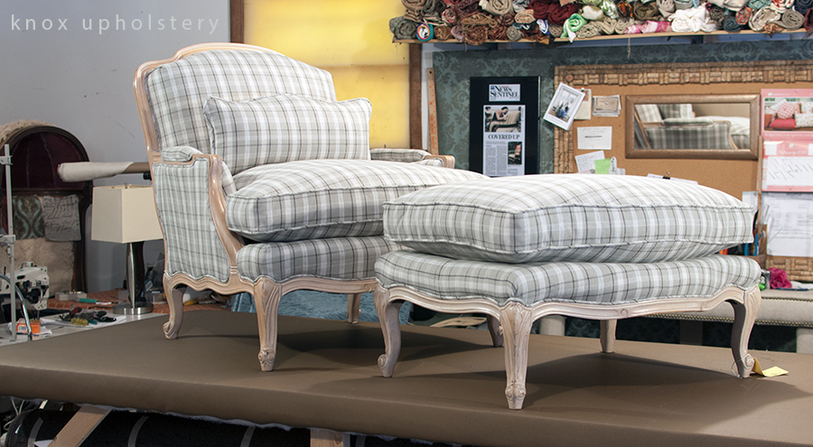 Bergerer Chair and Ottoman In Stripe Fabric