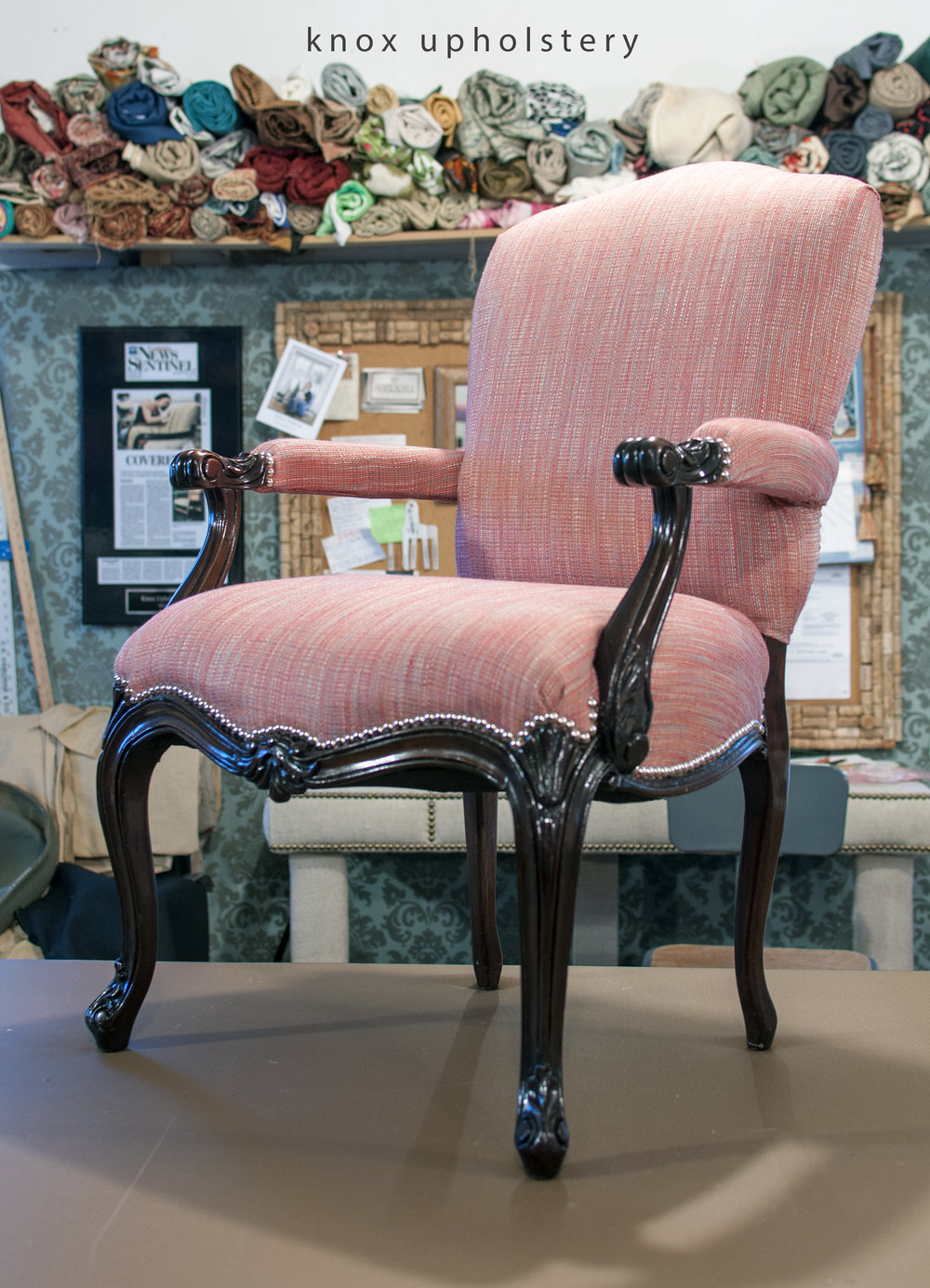 Pink Upholstered Arm Chair With Nail Head Trim