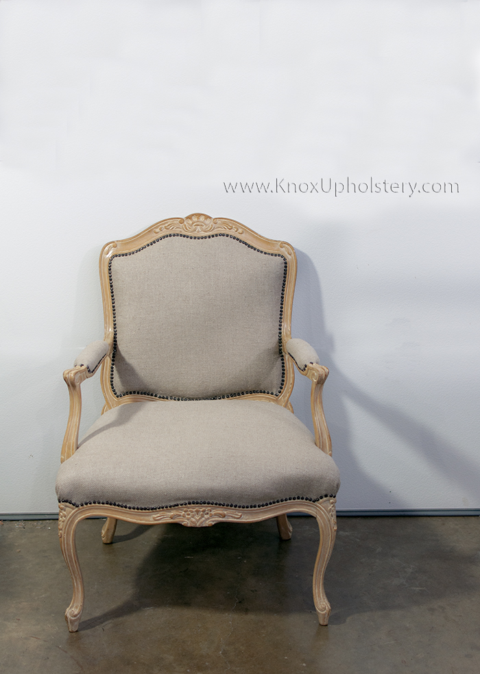 Traditional Upholstered Show Wood Arm Chair