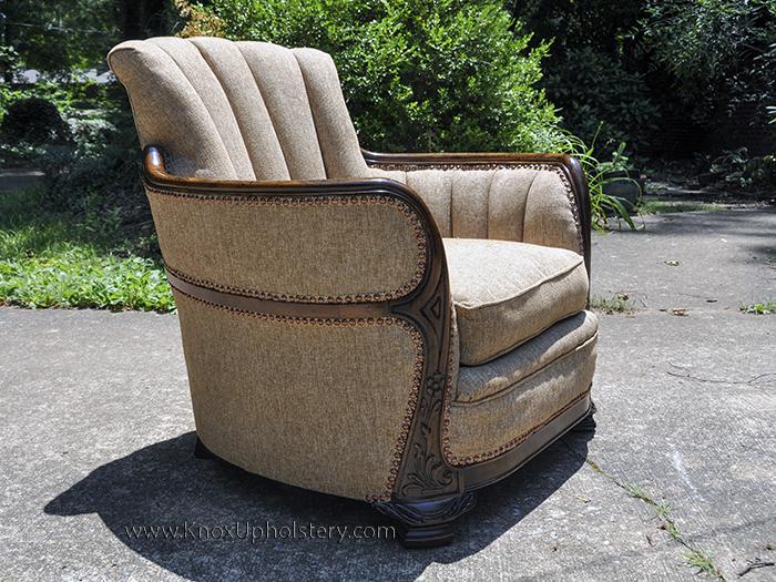 Antique Channel back upholstered barrel arm chair