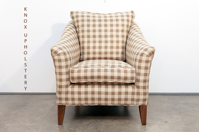 Buffalo-check upholstered arm chair