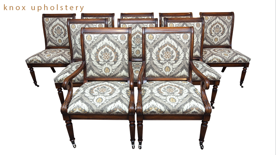 Set of 9 dining room upholstered chairs with nailhead trim by Knox Upholstery