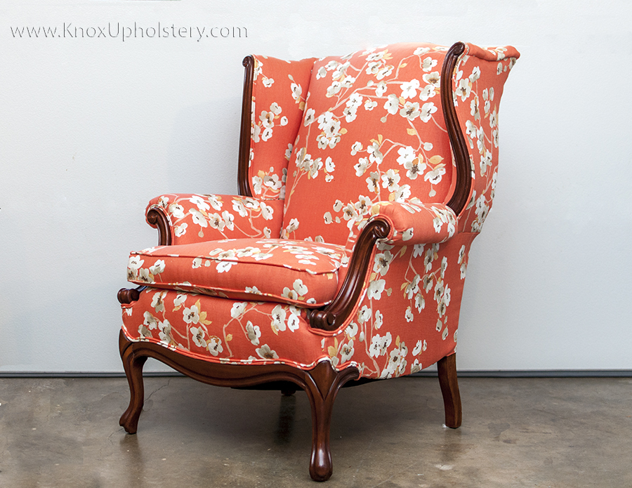 Upholstered Show-wood Wingback Chair