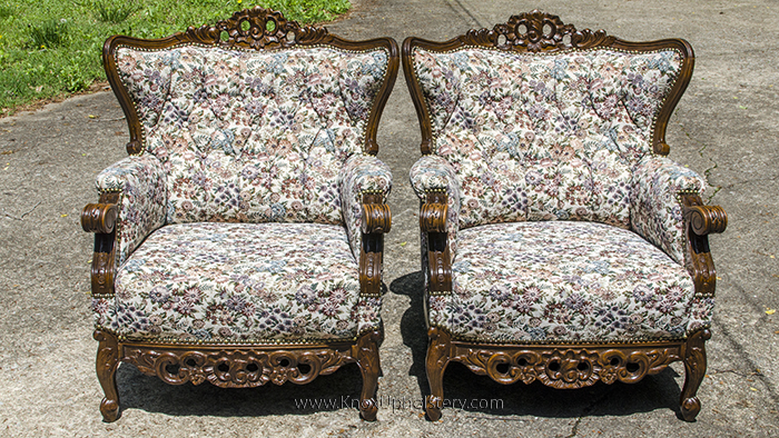Pair of floral upholstery antique chairs with button tufting