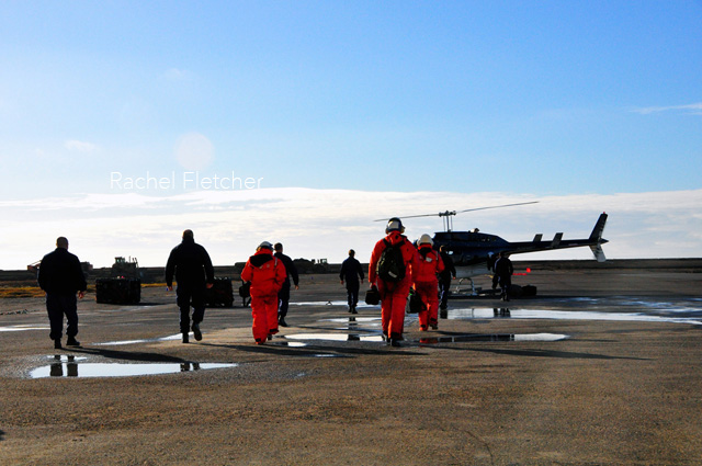 Grabbing a helicopter out to the USCG Healy in Barrow Alaska
