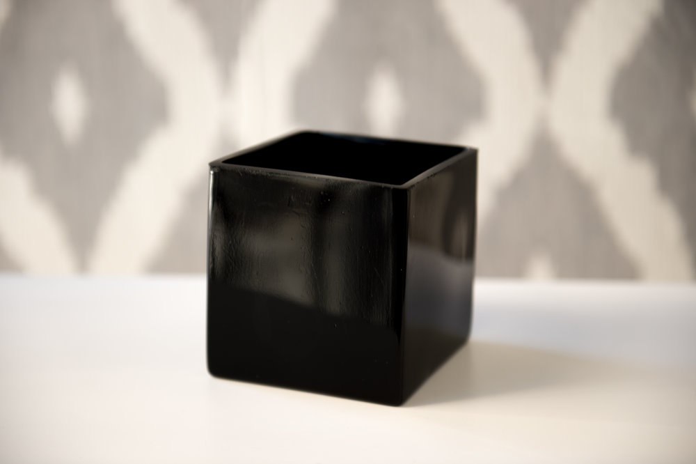 Short Black Rectangle Vase   Reserve Now