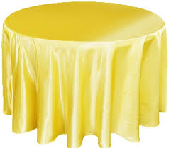 Yellow Satin Table Cover   Call to Reserve