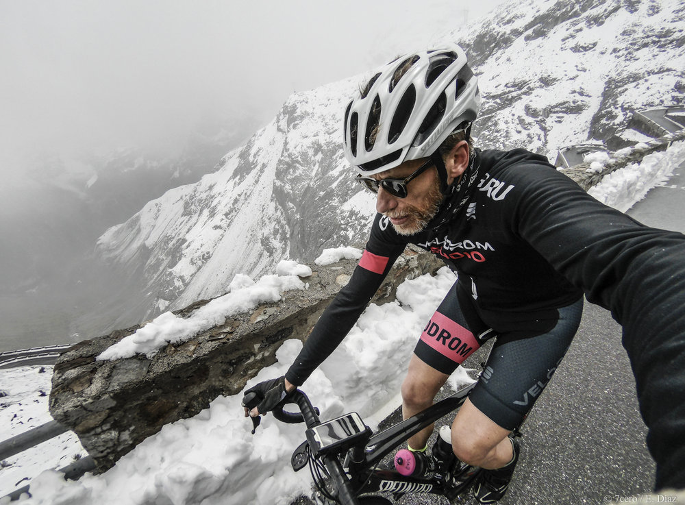 Epic adventures last forever. Enrique conquers the mighty Stelvio pass, Italy in the snow.