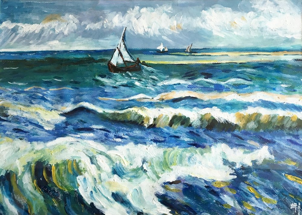 "Imitation of ""Fishing Boats at Sea"" by Vincent van Gogh"