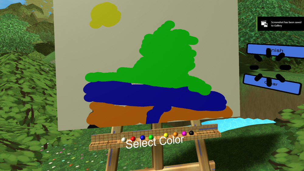 The user drawed a mountaion and creek.