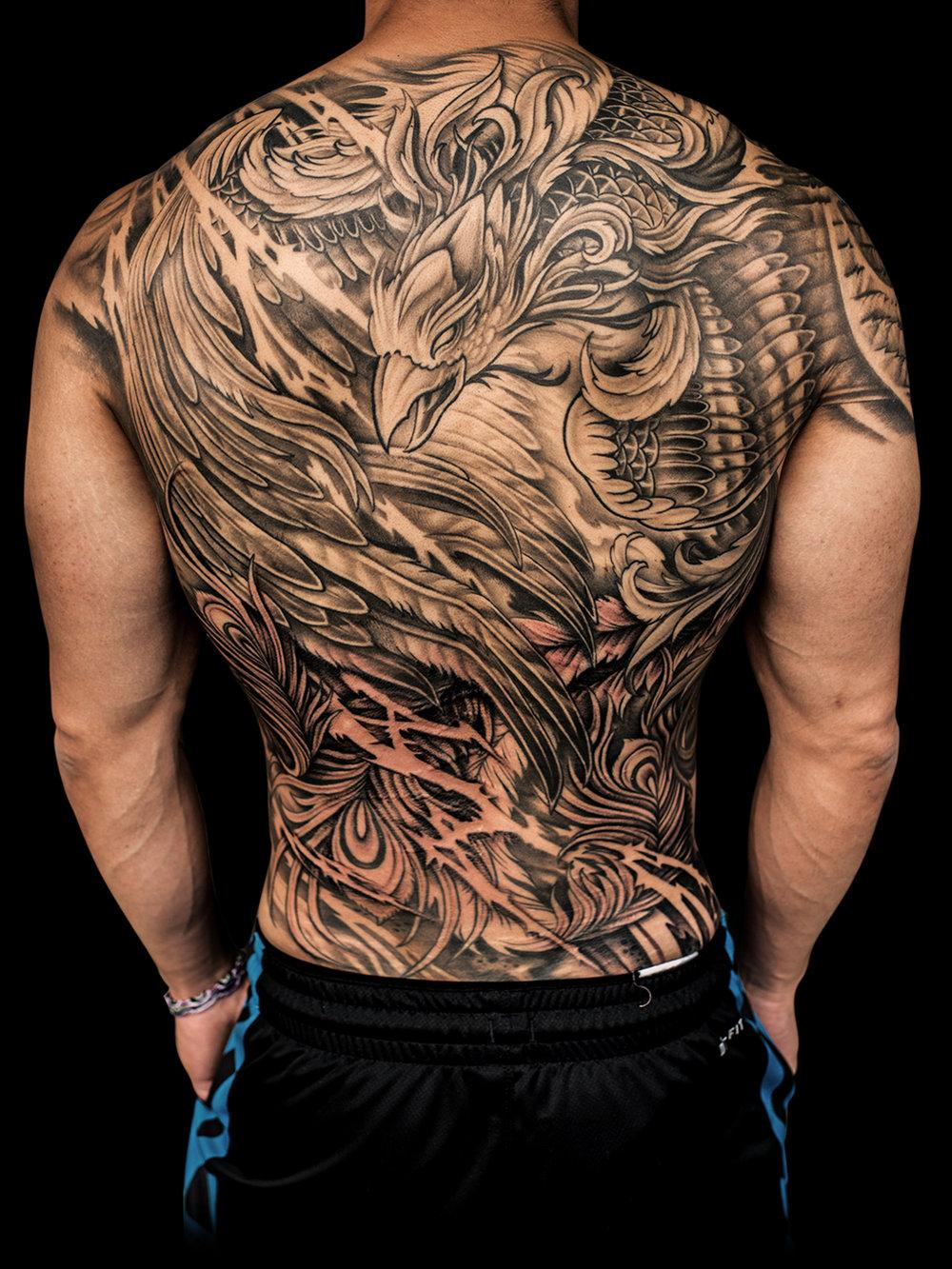 Asian style phoenix tattoo by Winson Tsai