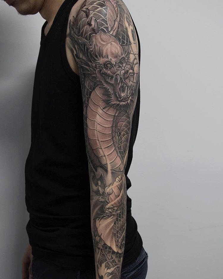 Asian style dragon tattoo by Shark