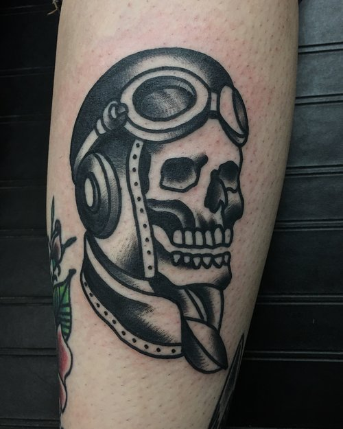Traditional skull tattoo by German